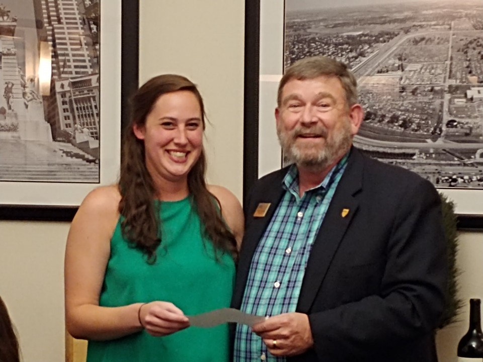 Caroline Fox presented with 2nd place by Region 4 Director, Bob Cagle